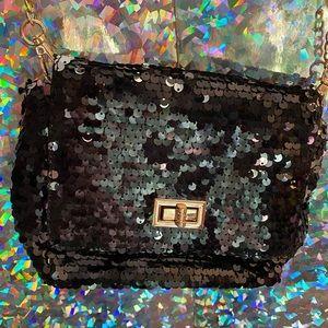 Black sequin crossbody chain purse
